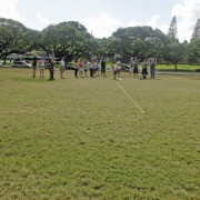 teacher workshop outdoor measuring with pole and string